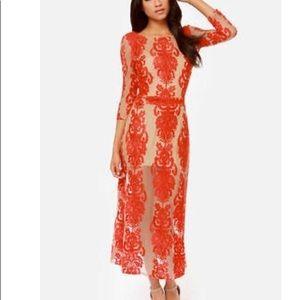 For love&lemons Red Floral Midi Dress